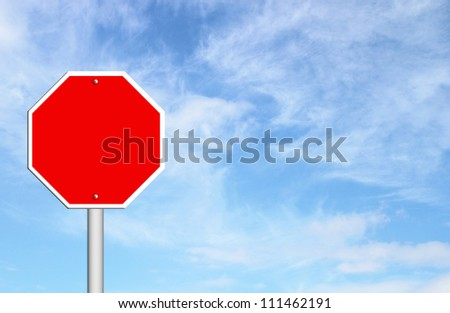 red blank sign with blue sky blank for text - stock photo