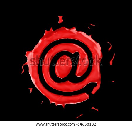 Red blob at symbol over black background. Large resolution - stock photo