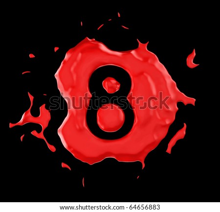 Red blob eight figure over black background. Large resolution - stock photo