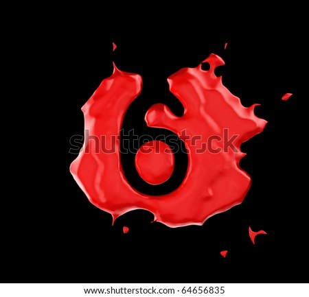 Red blob 6 figure over black background. Large resolution - stock photo