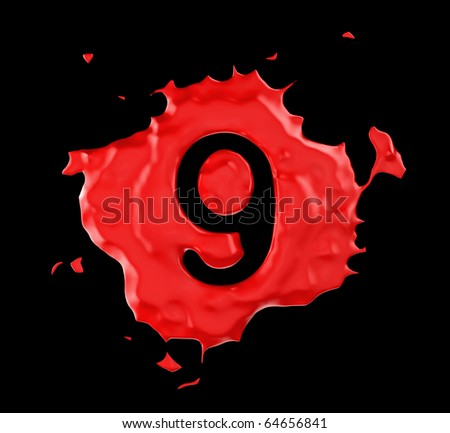 Red blob 9 figure over black background. Large resolution - stock photo