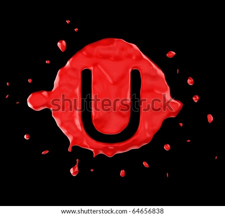 Red blob U letter over black background. Large resolution - stock photo