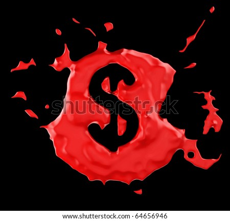 Red blob US dollar symbol over black background. Large resolution - stock photo