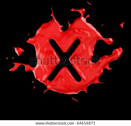 Red blob X letter over black background. Large resolution - stock photo