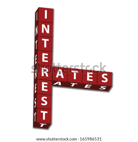 Red block letters of words interest rates isolated on white
