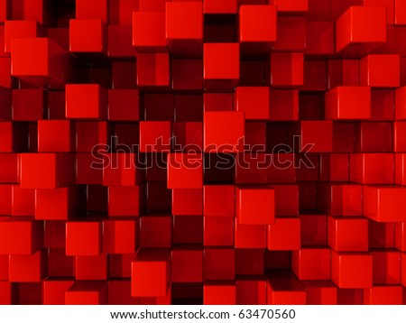 Red blocks abstract background - stock photo