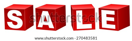 Red blocks with letters forming word sale.