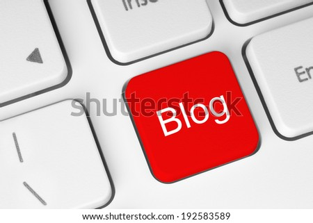 Red blog button on keyboard background  - stock photo