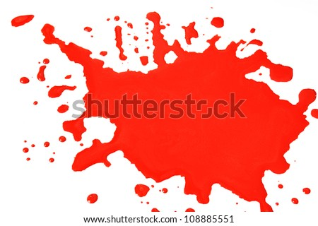 Red blood blots isolated on white background