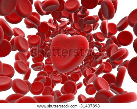 red blood cells and heart isolated - stock photo