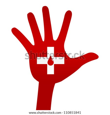 Red Blood Drop in Cross Sign on Hand For Blood Donation Concept Isolated On White Background - stock photo