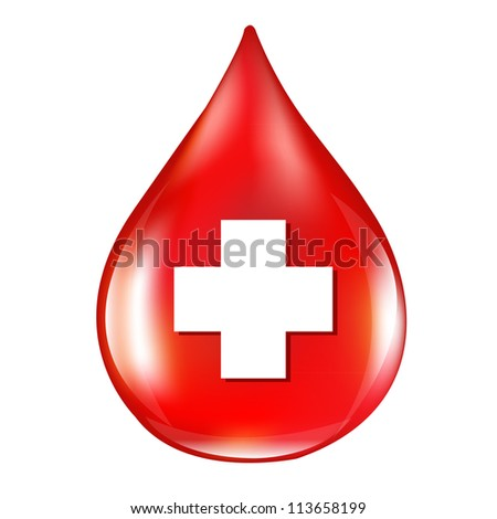 Red Blood Drop, Isolated On White Background - stock photo