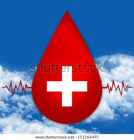 Red Blood Drop With Medical Sign and Heartbeat Graph For Blood Donation Concept in Blue Sky Background - stock photo