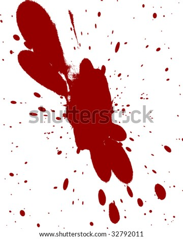 red blood splatter on a solid white background
