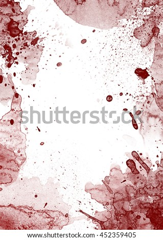 Red blood stains on white background