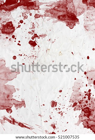 Red bloody stains and splatters on white