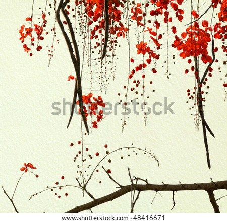 Red Blossom Tree on Handmade Paper - stock photo