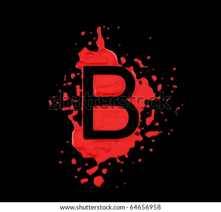 Red blot B letter over black background. Large resolution - stock photo