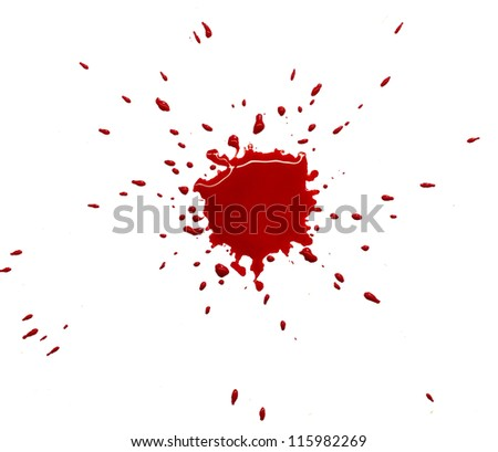 Red blot of watercolor paint (blood) - stock photo