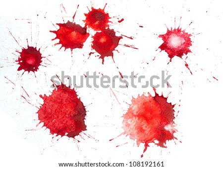 Red blots of watercolor paint - stock photo