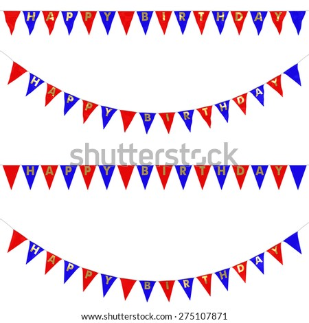 Red, Blue and Gold HAPPY BIRTHDAY Bunting Collection: 3D reflection and flat orthographic textures - stock photo