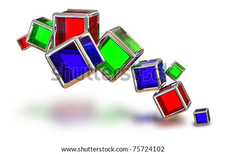 red, blue and green glass cubes in a metal frame