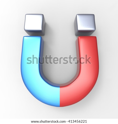 Red, Blue and Grey Horseshoe Magnet isolated on a white background 3d illustration - stock photo