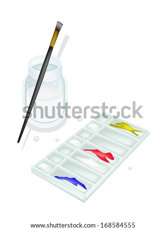 Red, Blue and Yellow Color Paint in Rectangle Plastic Art Palette With A Craft Paintbrushes or Artist Brushes and Glass Jar for Draw and Paint A Picture.  - stock photo