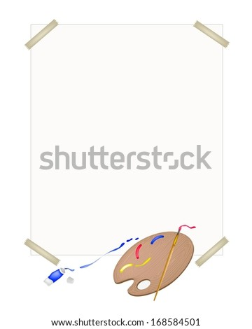Red, Blue and Yellow Color Paint in Wooden Art Palette With A Craft Paintbrushes or Artist Brushes on A Drawing Paper for Draw and Paint A Picture.  - stock photo