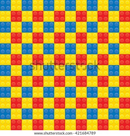 red blue and yellow plastic construction block pattern - stock photo