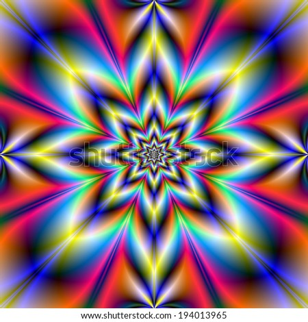 Red Blue and Yellow Star / A digital abstract fractal image with a eight pointed star design in red, blue, yellow, orange and turquoise. - stock photo
