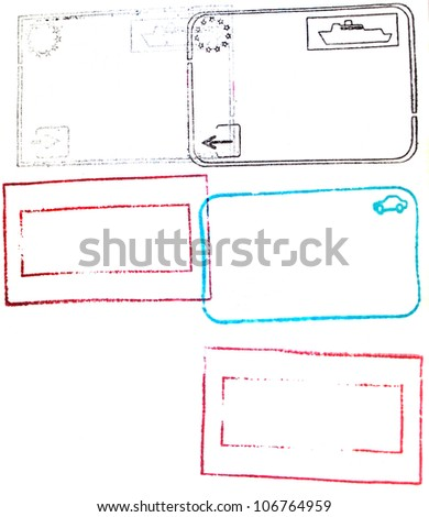 Red,blue,black passport stamps isolated on white background