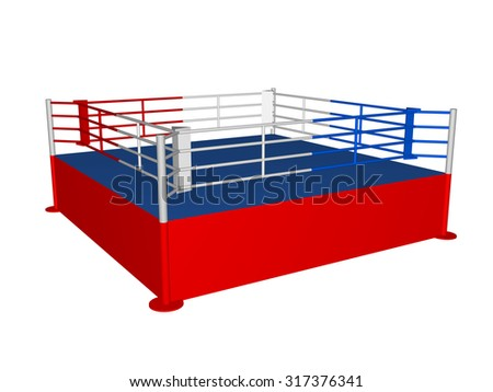 Red-blue boxing ring in 3D closeup isolated over white