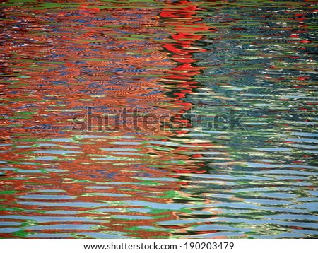 Red Blue Color pattern shimmers and reflects in ripples of water making a psychedelic pattern. - stock photo