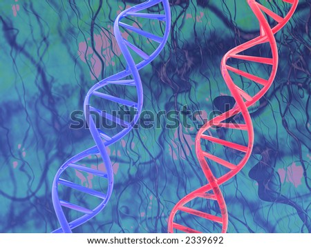 red & blue dna - stock photo