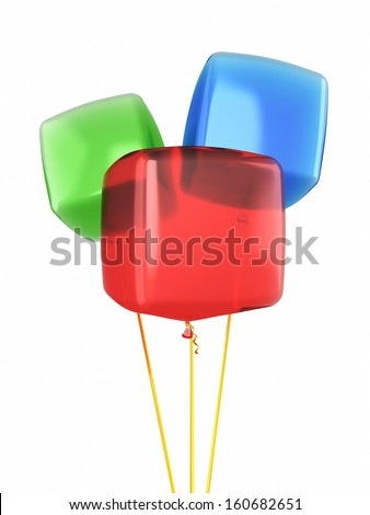 Red blue green cube balloons render isolated on white and clipping path - stock photo