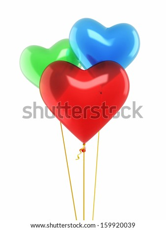 Red blue green heart balloons render isolated and clipping path  - stock photo