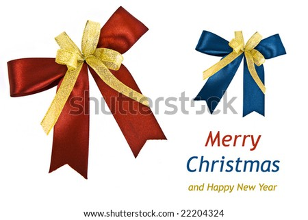 Red & Blue holiday bow isolated on white background