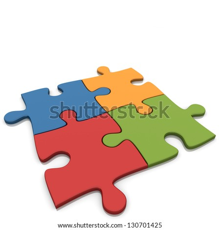 Red Blue Orange And Green Puzzles On White Background. - stock photo