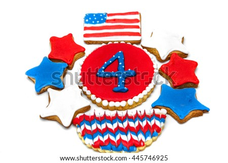 red, blue stars, American flag and the figure of four cookies