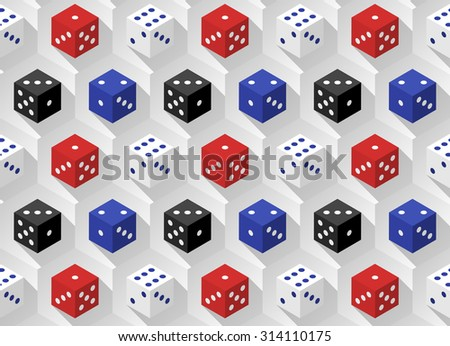 Red, blue, white and black casino dice with long shadows on a hexagonal background. Seamless pattern.  - stock photo