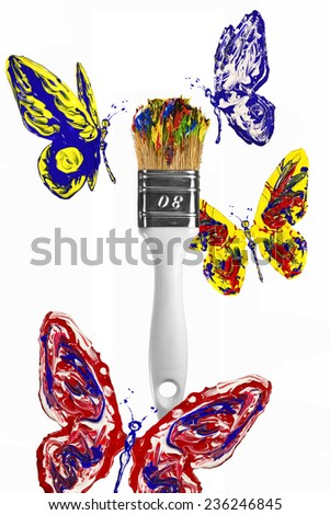 Red blue yellow butterflies flying above colorful paintbrush