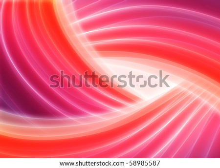 Red blurry waves and curved lines background - stock photo