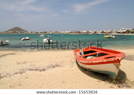 Red boat, Naxos, Greece - stock photo