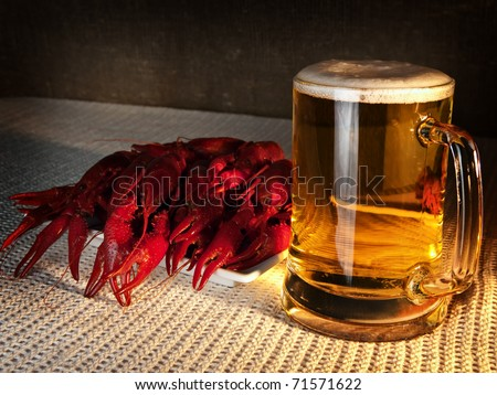 red boiled crawfishes over the white background - stock photo