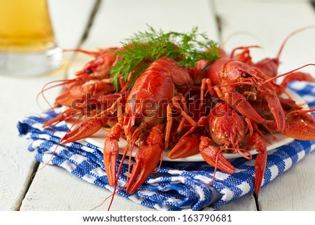 Red boiled crayfish and beer - stock photo
