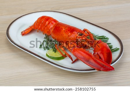 Red boiled lobster with thyme and rosemary