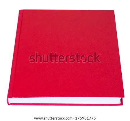 Red book lying with blank hardcover isolated on white background