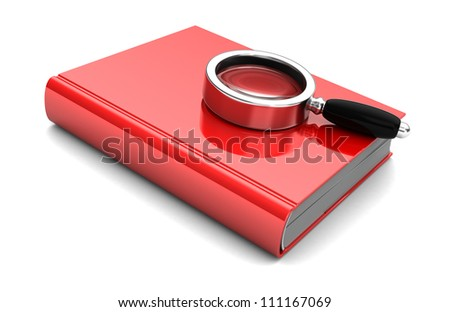 Red book with magnifier isolated on a white background - stock photo