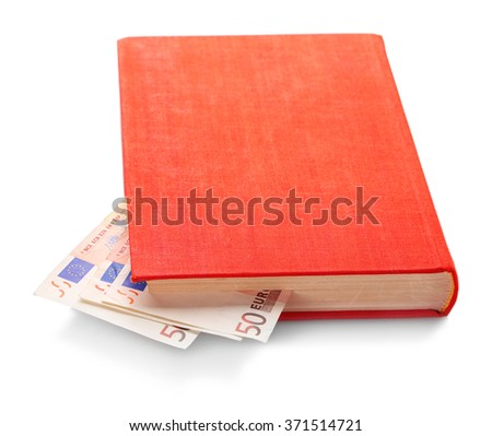Red book with nested euro banknotes, isolated on white. Stash of money - stock photo